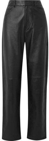 Carpenter Leather Straight-leg Pants - Black