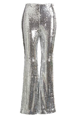 Endless Rose Sequin Flare Pants silver