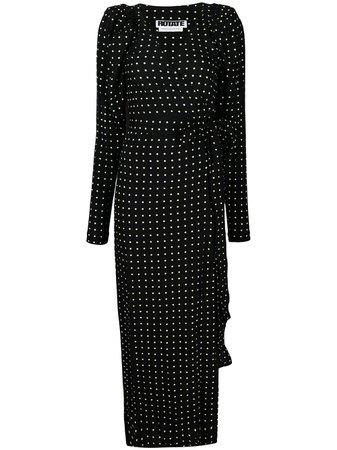 ROTATE polka-dot Print Wrap Dress - Farfetch