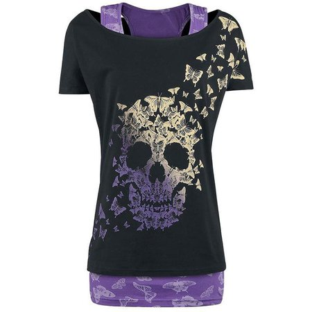 Skull Print Gothic Twinset T Shirt - Trendsology