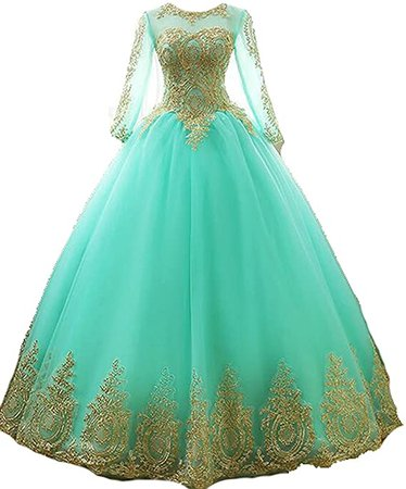 inmagicdress Women's Ball Gowns Gold Lace Appplique Dress at Amazon Women's Clothing store