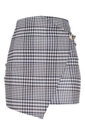Monochrome Check Wrap Mini Skirt | Skirts | PrettyLittleThing