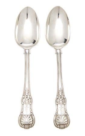 Set of Antique English Sterling Silver Serving Spoons by Alex Papachristidis | Moda Operandi