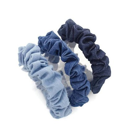 A Set of 3 Denim Scrunchies Blue Light Blue Dark Blue Jean | Etsy