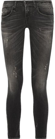 Kate Distressed Low-rise Skinny Jeans - Charcoal