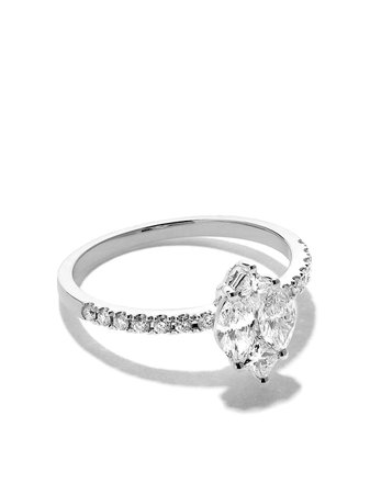 Silver As29 18Kt White Gold Mye Marquise Illusion Diamond Ring | Farfetch.com