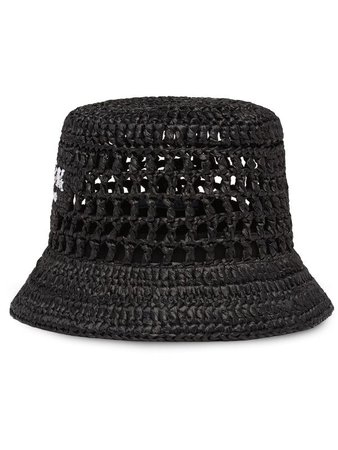 Prada logo-embroidered Woven Bucket Hat - Farfetch