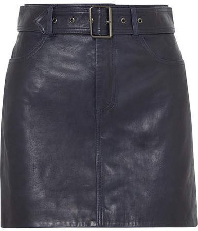 Victoria, Belted Leather Mini Skirt - Midnight blue