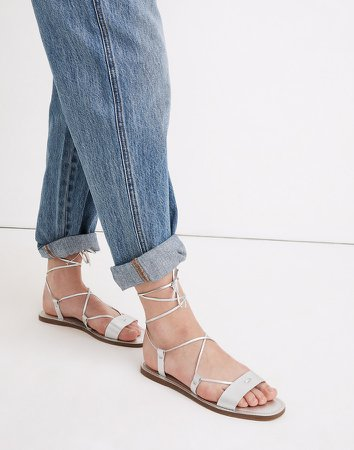 The Boardwalk Lace-Up Sandal in Metallic Leather