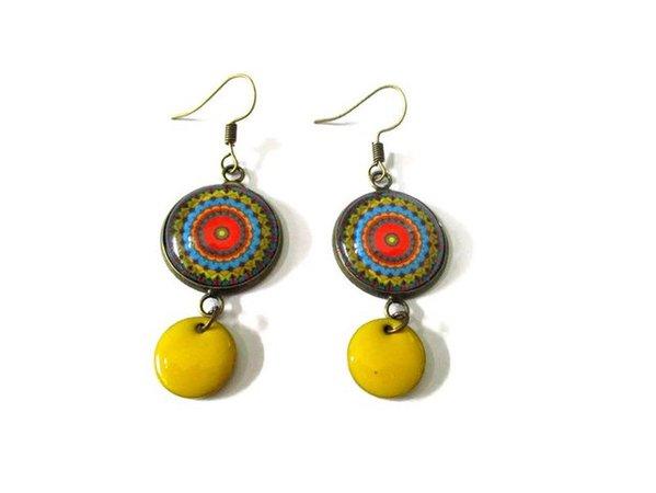 Mandala Earrings enamel earring colorful jewelry boho   Etsy
