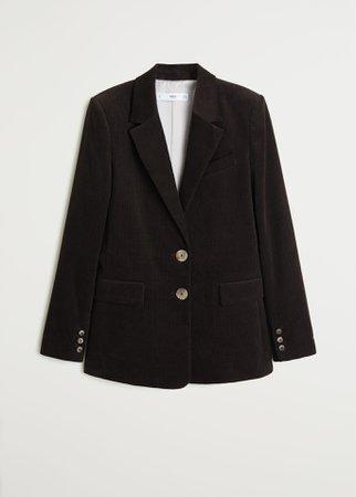 Corduroy structured blazer - Women   Mango USA