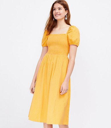 Petite Clip Smocked Puff Sleeve Pocket Midi Dress