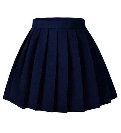 Women's Japan High Waisted Pleated Cosplay Costumes Skirts Solid Mini Skirt - Dark Blue - CA17YIGTXIO