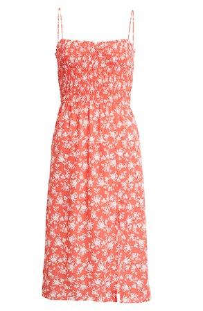 Row A Sleeveless Smocked Midi Dress | Nordstrom