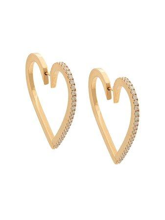 Cadar 18Kt Rose Gold Endless Large Heart Diamond Hoops   Farfetch.com