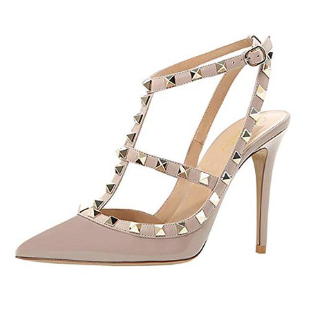 Amazon.com | Lutalica Women Sexy Ankle Straps Sandals High Heel Pointed Toe Studded Stiletto Matte Nude Shoes Size 7.5 US | Heeled Sandals
