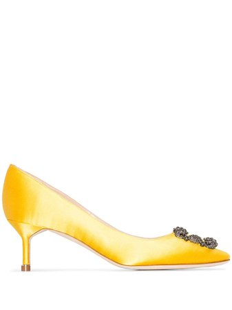 Shop yellow Manolo Blahnik Hangisi 50mm pumps with Express Delivery - Farfetch