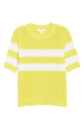 1901 Stripe Pointelle Short Sleeve Sweater | Nordstrom