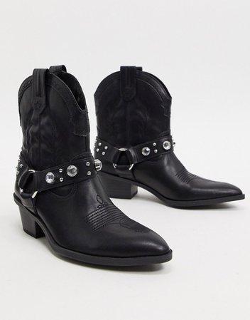Bershka harness detail western boots in black | ASOS