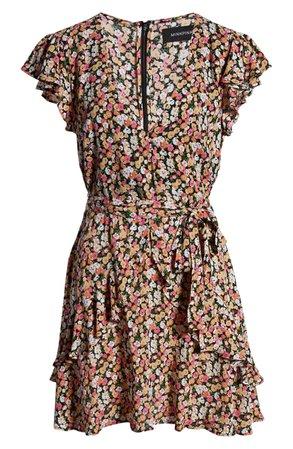 MINKPINK Good Girls Belted Floral Minidress brown