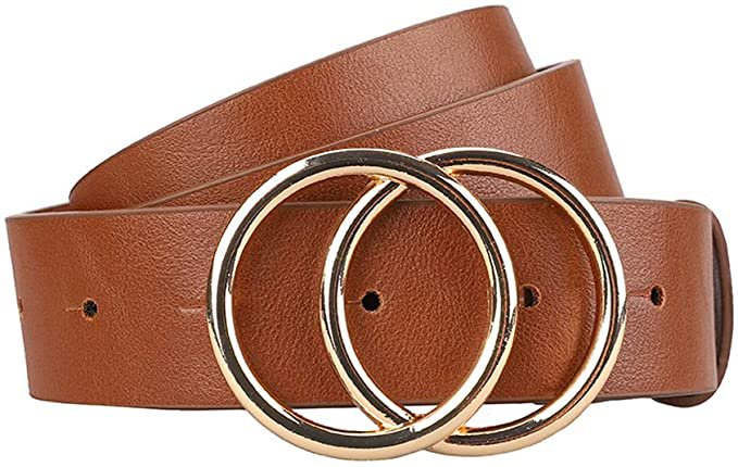Earnda Women's Leather Belt Fashion Soft Faux Leather Waist Belts For Jeans Dress at Amazon Women's Clothing store