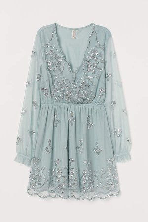 Sequin-embroidered Dress - Turquoise