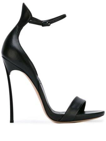 Black Casadei Blade Open Toe Sandals | Farfetch.com