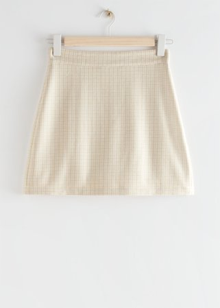 Houndstooth Wool Blend Mini Skirt - Beige Checks - Mini skirts - & Other Stories