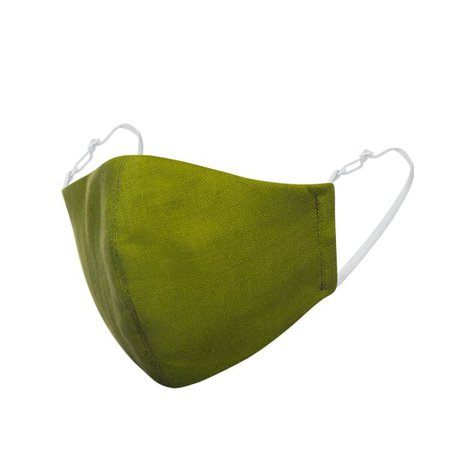 Olive Green Linen Cotton Face Mask With Filter Pocket | Face My Mask | Wolf & Badger