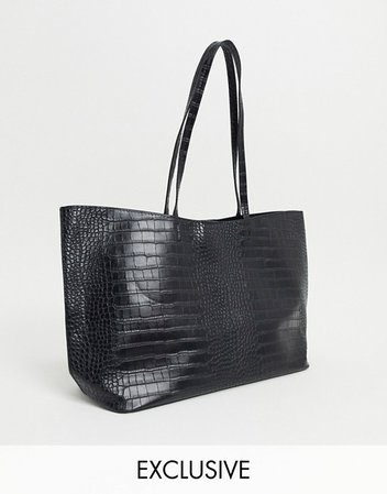 Glamorous Exclusive oversized tote bag in black croc with removable inner pouch | ASOS