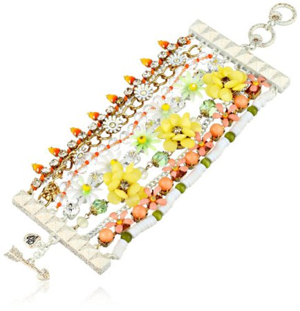 Betsey Johnson SUMMER OF LOVE Flower Multi-Row Statement Toggle Bracelet $145 885043918389 | eBay