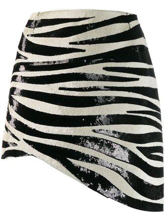 Saint Laurent Zebra Stripe Sequin Mini Skirt For Women | Farfetch.com