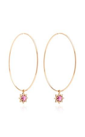 18K Rose Gold, Garnet And Diamond Earrings by M.Spalten | Moda Operandi