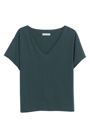 Madewell Supima® Cotton Drapey V-Neck Crop T-Shirt | Nordstrom