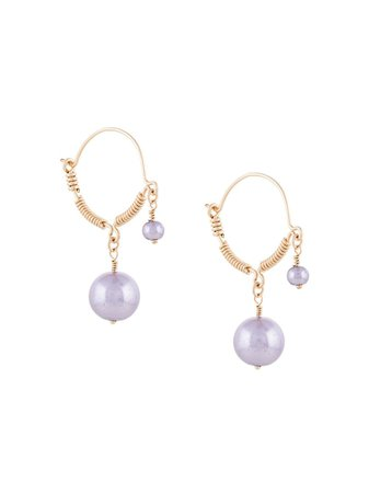 Purple & gold Petite Grand faux-pearl wire detail earrings - Farfetch