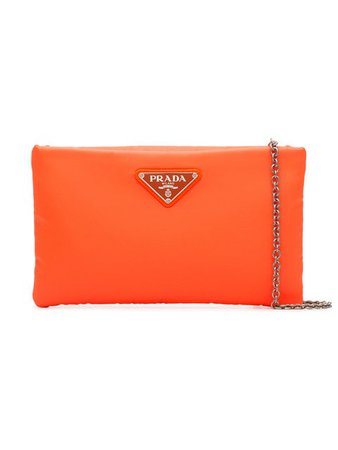 Prada Fluorescent Orange Logo Nylon Clutch Bag - Farfetch