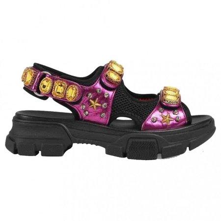 Flashtrek Purple Leather Sandals