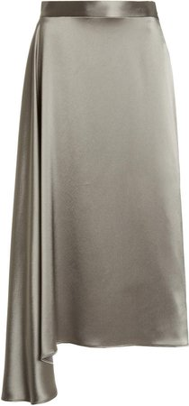 Deveaux Merel Asymmetric Satin Midi Skirt