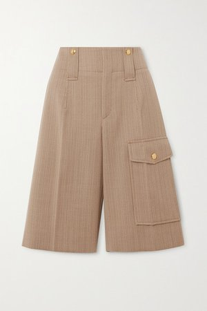 Pinstriped Wool-twill Shorts - Beige