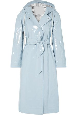 ALEXACHUNG | Hooded belted coated cotton-blend raincoat | NET-A-PORTER.COM