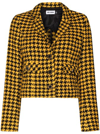 Shop yellow Rixo houndstooth pattern cropped blazer with Express Delivery - Farfetch