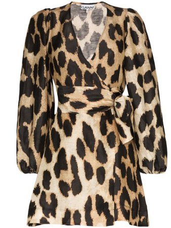 GANNI leopard-print Wrap Dress - Farfetch