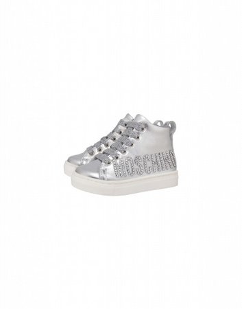 High Sneakers In Laminated Nappa Leather Crystal Logo