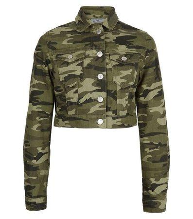 Girls Green Camo Print Denim Jacket | New Look