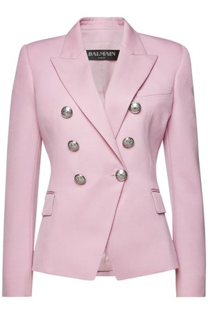 Balmain - Wool Blazer with Embossed Buttons - pink