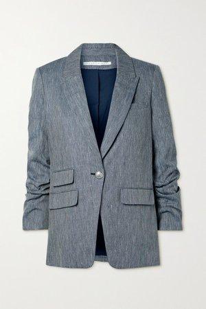Martel Dickey Herringbone Linen And Cotton-blend Blazer - Navy