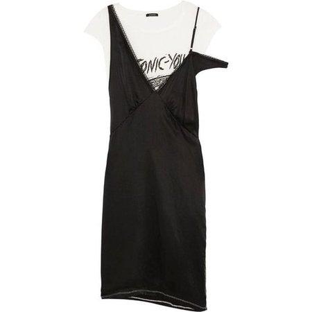 Layered Silk-Satin and Cotton-Blend Jersey Dress