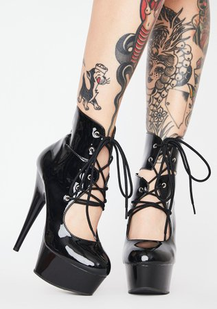Pleaser Black Shiny Patent Lace Up Ankle Boot Stiletto Heels