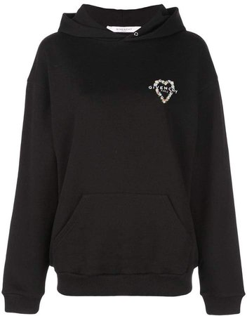 heart embroidered logo hoodie