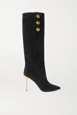 Black Button-embellished suede knee boots   Balmain   NET-A-PORTER